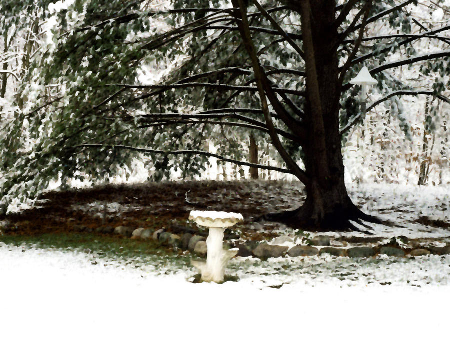 Winter Painting - Birdbath by Paul Sachtleben