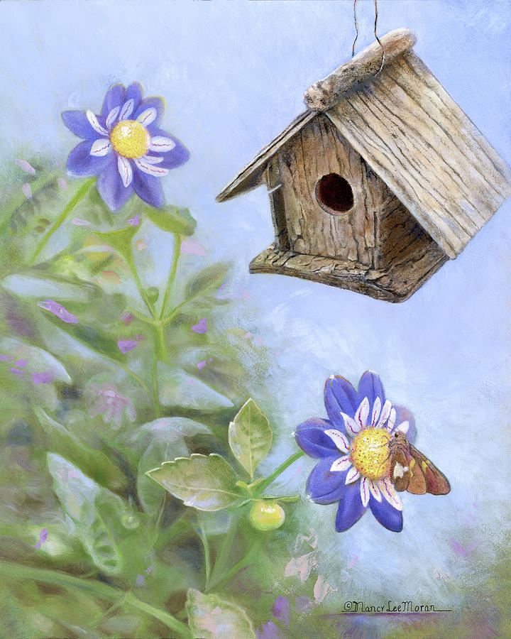 Birdhouse Painting - Birdhouse In A Country Garden by Nancy Lee Moran