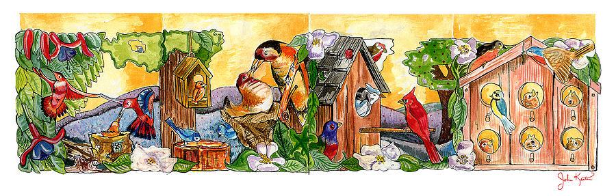 Birds Painting - Birdhouse Tableau by John Keaton