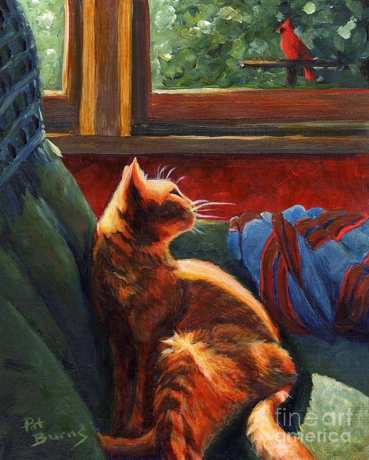 Cat Painting - Birdie In The Window by Pat Burns