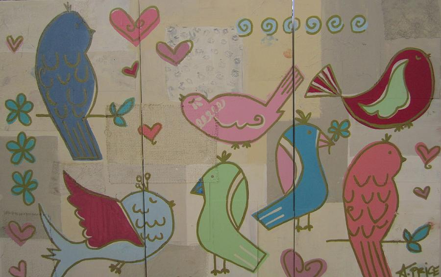 Panel Paintings Painting - Birdie Tea Party by Ashley Price