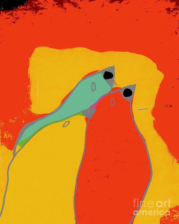 Orange Digital Art - Birdies - Q11a by Variance Collections
