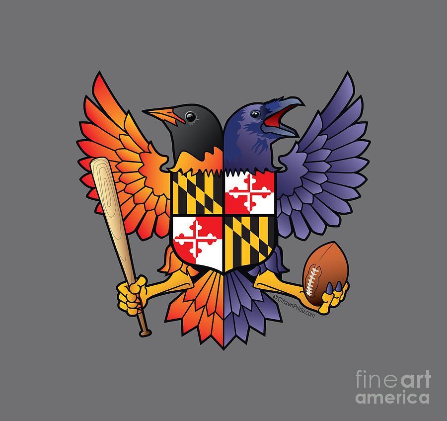 Birdland Digital Art - Birdland Baltimore Raven and Oriole Maryland Shield by Joe Barsin