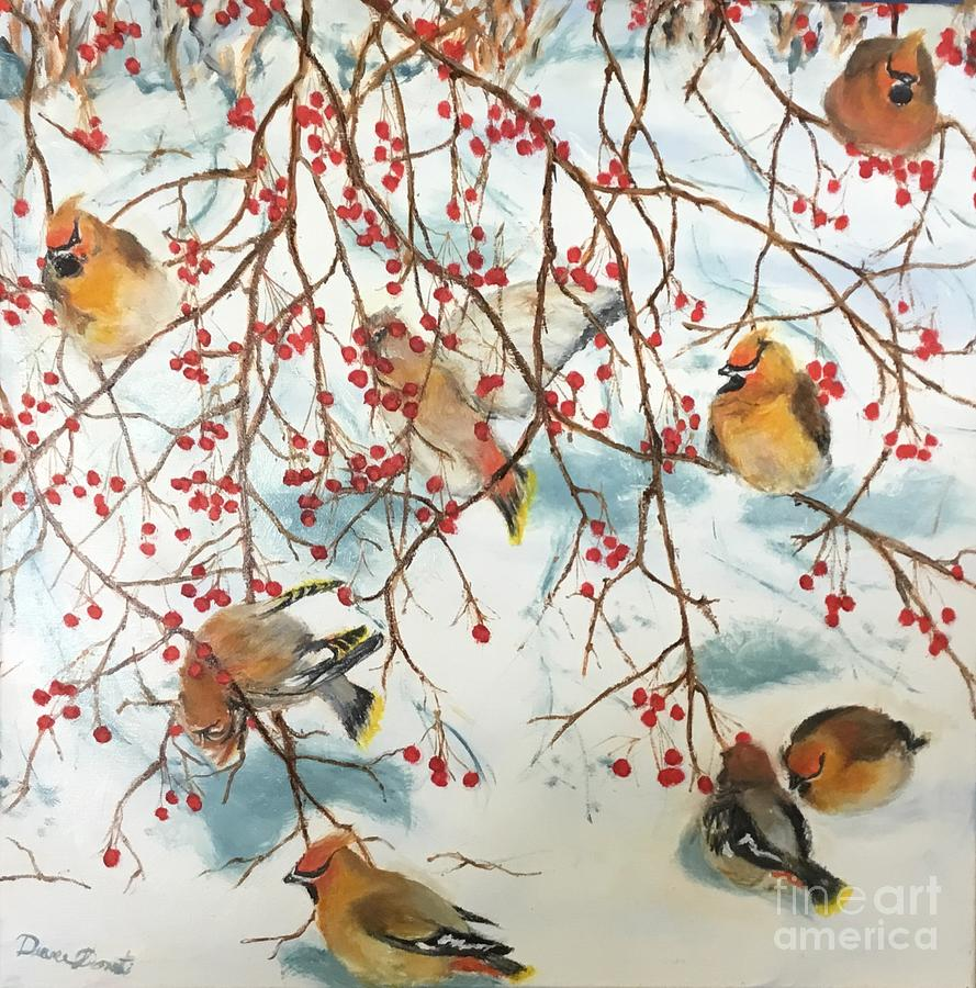 Winter Painting - Birds And Berries by Diane Donati