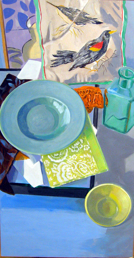 Birds And Bowls Painting by Maralyn Adlin