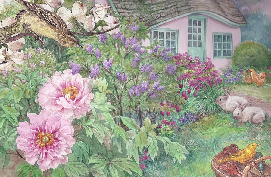 Birds And Bunnies In Cottage Garden Painting by Judith Cheng