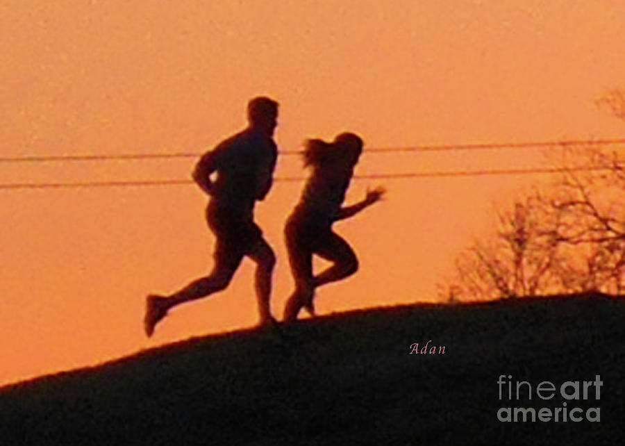 Joggers Photograph - Birds And Fun At Butler Park Austin - Jogging - Sunset Run by Felipe Adan Lerma