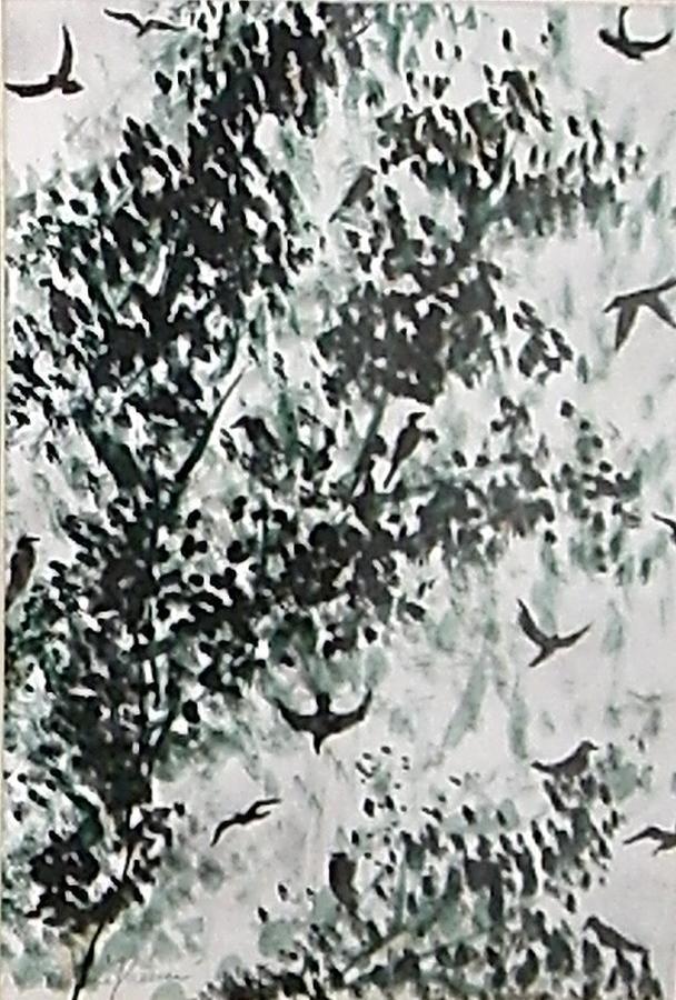 Birds Painting - Birds At Sundown II by Caroline  Urbania Naeem