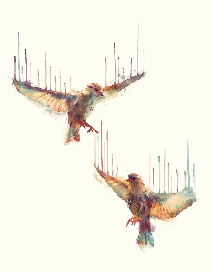 Birds Painting - Birds // Awake by Amy Hamilton