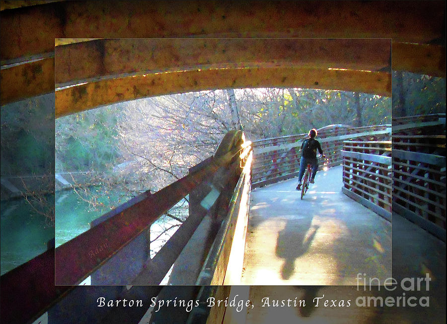 Silhouette Photograph - Birds Boaters and Bridges of Barton Springs - Bridges One Greeting Card Poster v1 by Felipe Adan Lerma