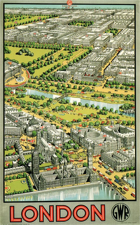 Birds Eye View Of London - Vintage Travel Poster Painting