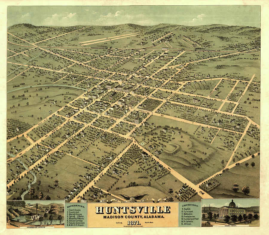 Bird's Eye View Painting - Birds Eye View Of The City Of Huntsville, Madison County, Alabama 1871 by Ruger
