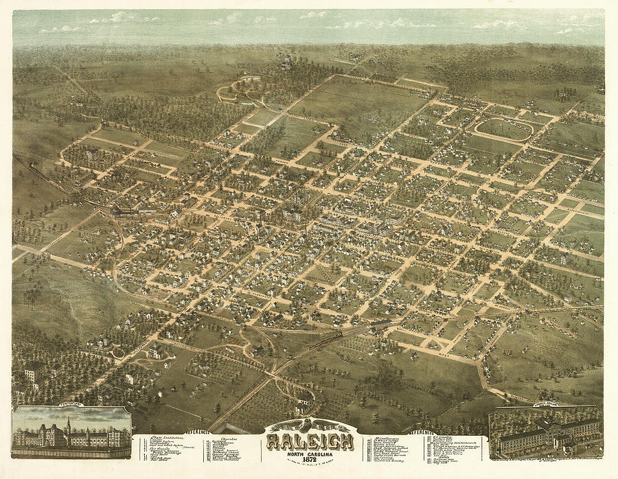 Bird's Eye View Painting - Birds Eye View Of The City Of Raleigh, North Carolina 1872 by Drie