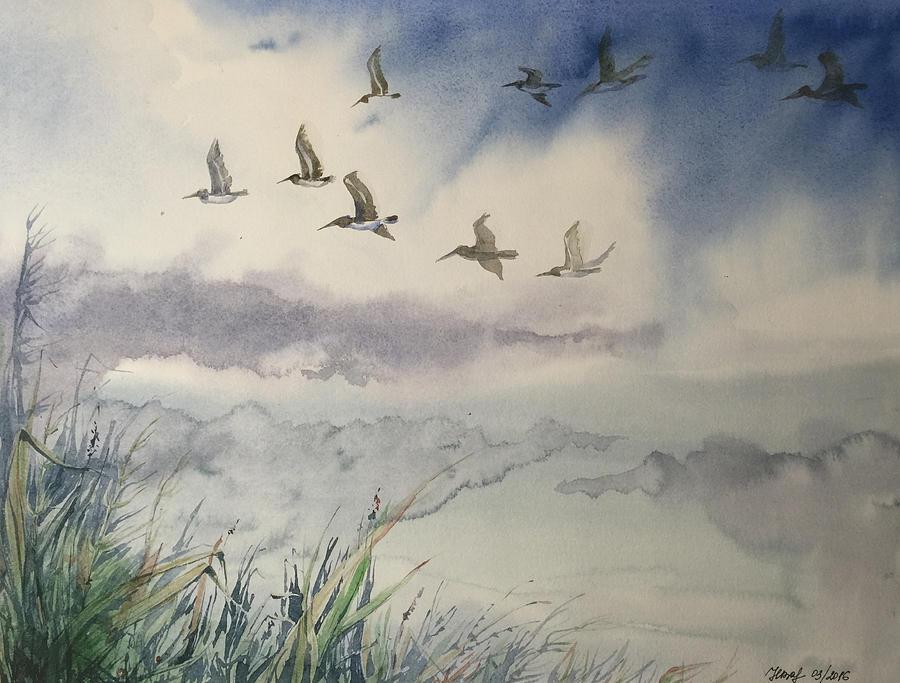 birds flying in cloudy sky painting by natalya zaytseva