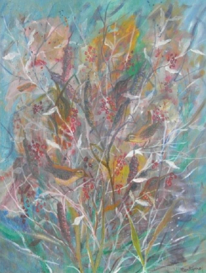 Birds Painting - Birds In A Bush by Ben Kiger