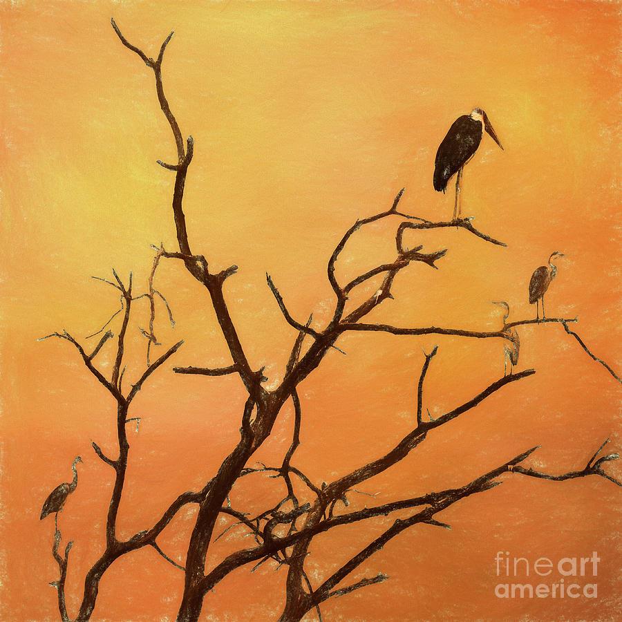 Birds in an African Sunset by Liz Leyden