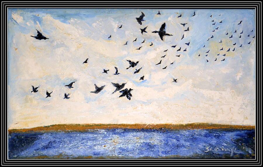 Portraits Painting - Birds In Flight At Pushkar by Anand Swaroop Manchiraju