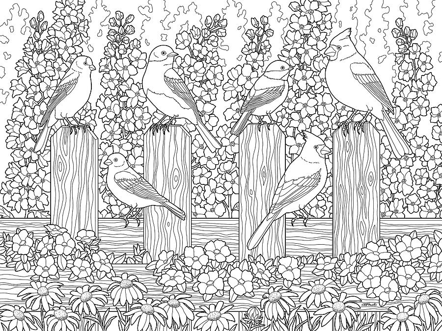 birds painting birds in flower garden coloring page by crista forest