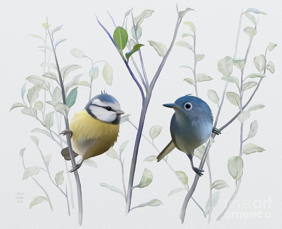 Bird Watching Painting - Birds In Tree by Ivana
