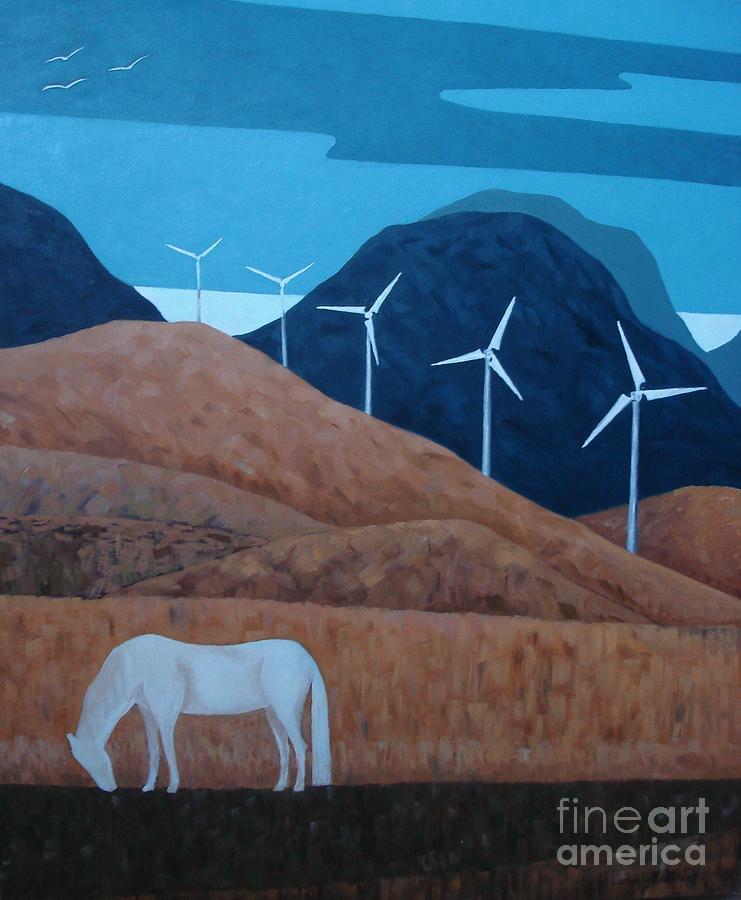 White Horse Painting - Birds by Ludmila Kalinina