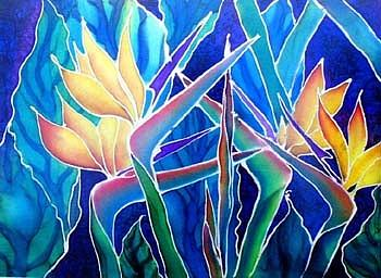 Silks Painting - Birds Of Paradise  by Francine Dufour Jones