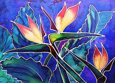Silk Painting Painting - Birds Of Paradise II by Francine Dufour Jones