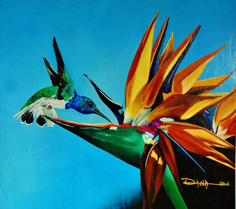 Birds Painting - Birds Of Paradise With White Necked Jacobin Hummingbird by Dana Newman