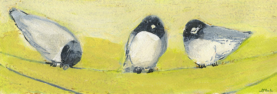 Bird Painting - Birds On A Wire by Jennifer Lommers
