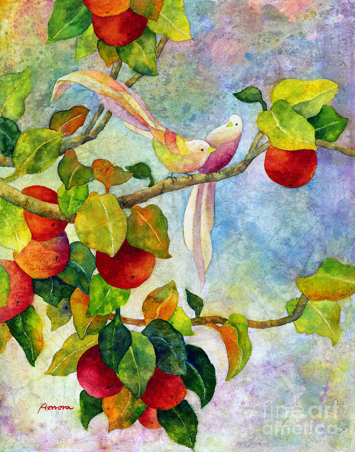 Birds On Apple Tree By Hailey E Herrera