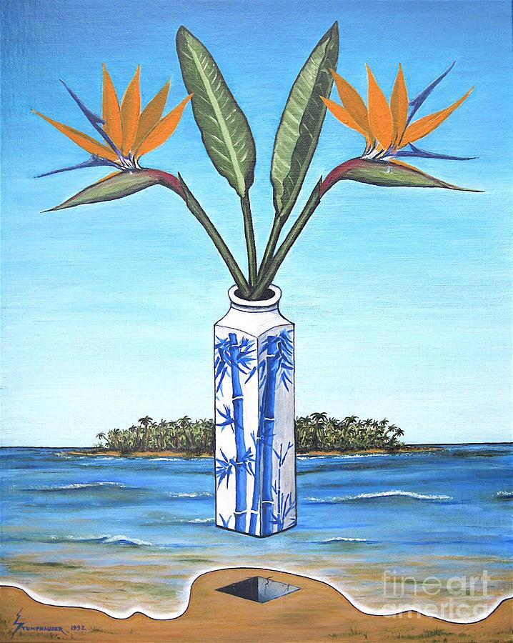 Bird Of Paradise Painting - Birds Over Paradise Flowers by Jerome Stumphauzer