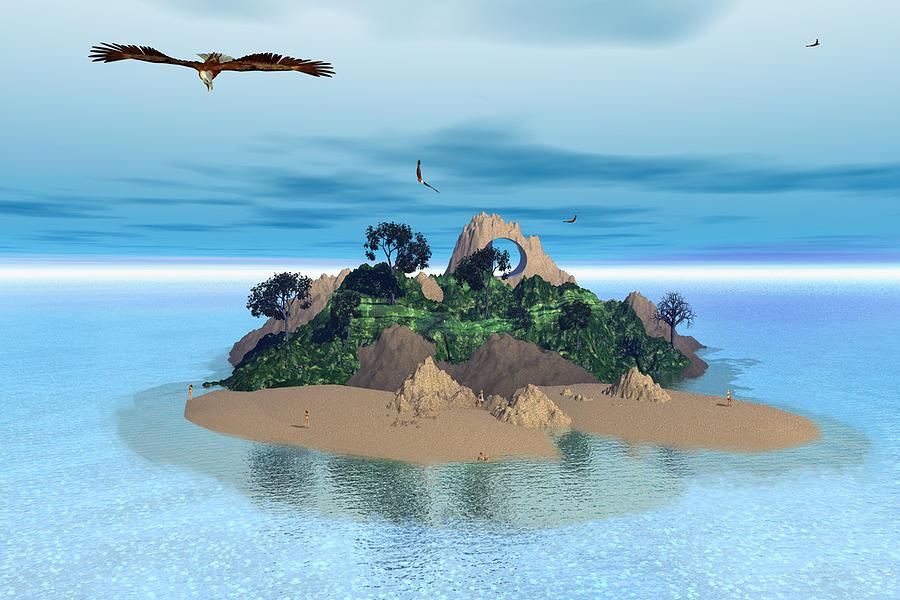 Birdseye View Of Bryce Beach Digital Art by David Scott Leibowitz