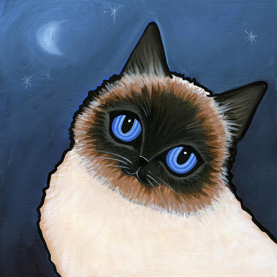 Cat Painting - Birman Blue Night by Leanne Wilkes