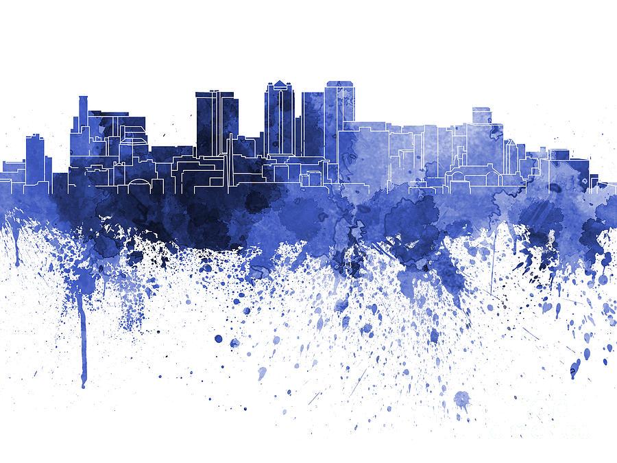 Birmingham Painting - Birmingham Al Skyline In Blue Watercolor On White Background by Pablo Romero