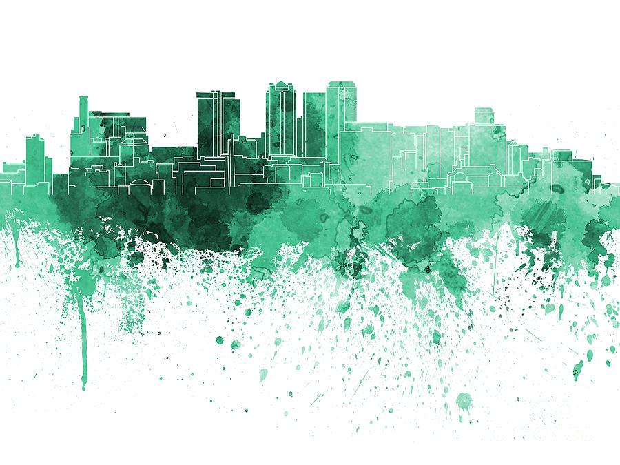 Birmingham Painting - Birmingham Al Skyline In Green Watercolor On White Background by Pablo Romero