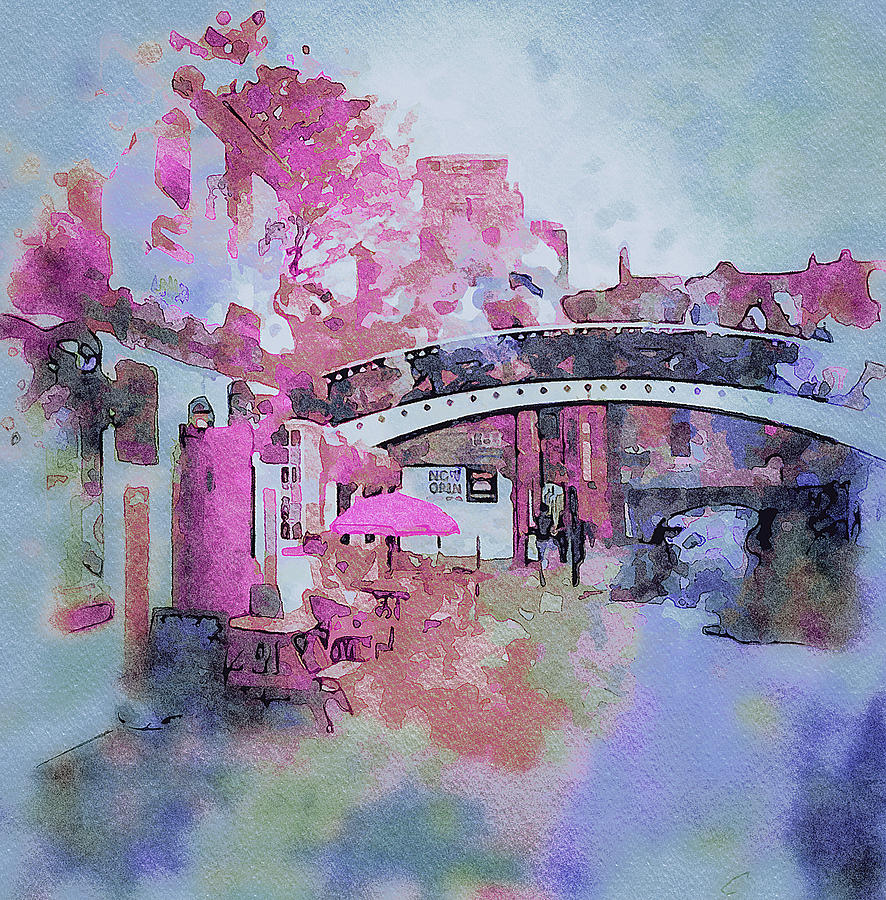 Birmingham Digital Art - Birmingham Canal Watercolor by Yury Malkov