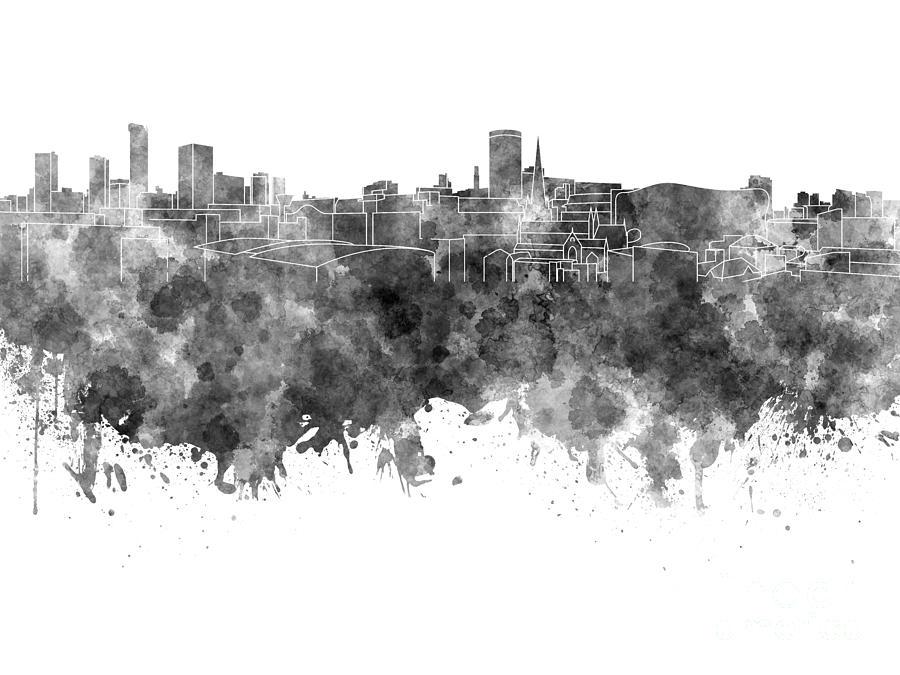 Birmingham Painting - Birmingham Skyline In Black Watercolor On White Background by Pablo Romero