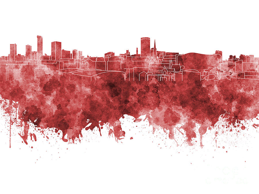 Birmingham Painting - Birmingham Skyline In Red Watercolor On White Background by Pablo Romero