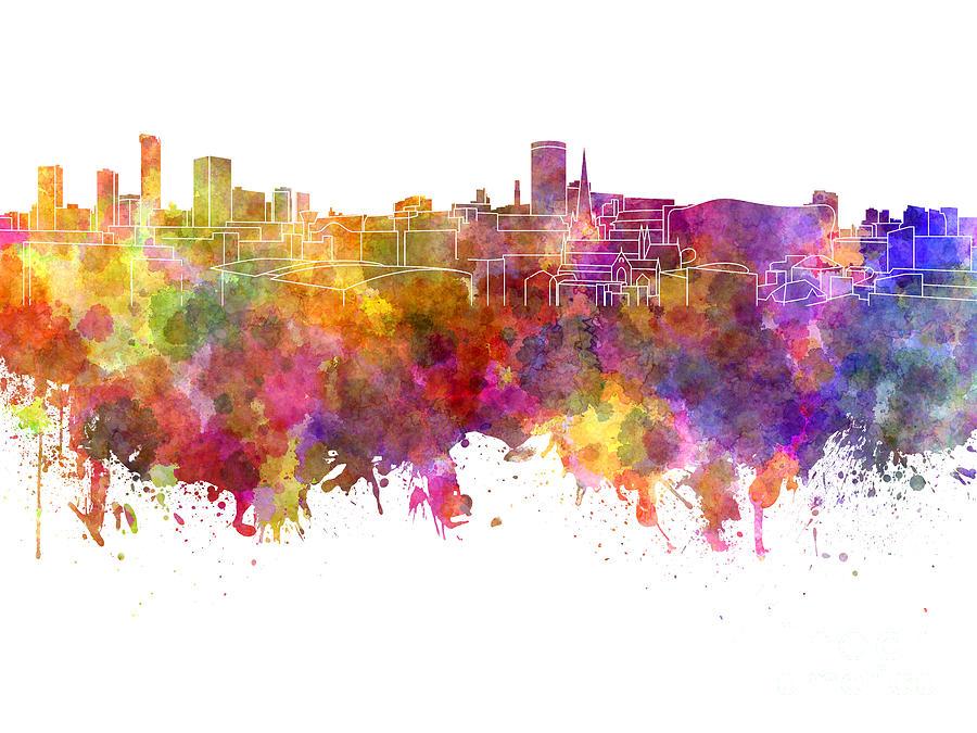 Birmingham Painting - Birmingham Skyline In Watercolor On White Background by Pablo Romero