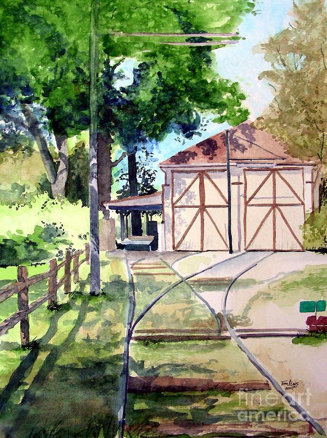Trolley Painting - Birney Trolley Barn by Tom Riggs