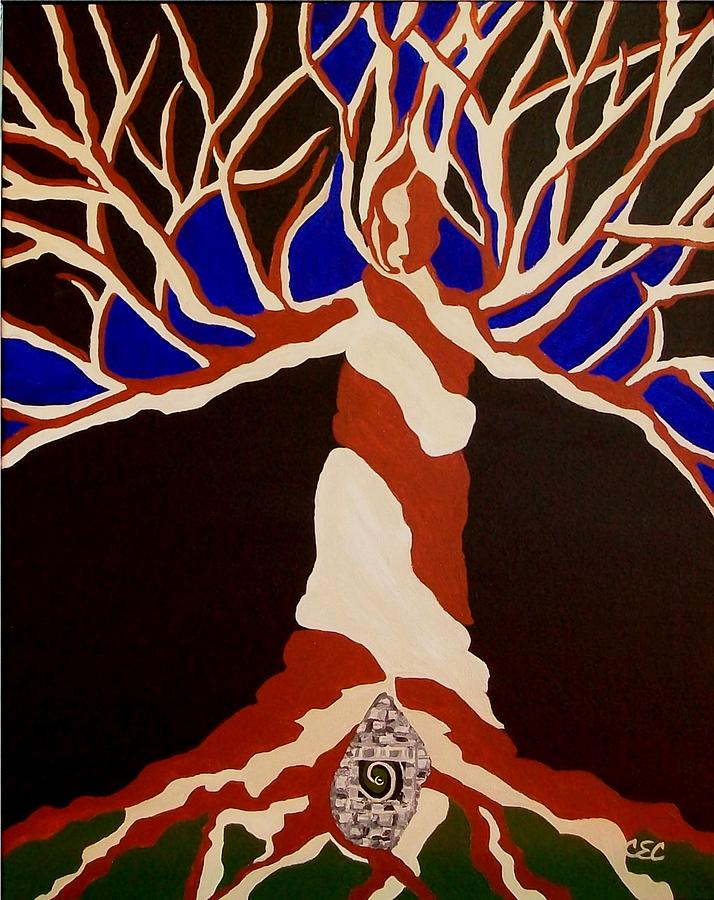 Abstract Tree Painting - Birth by Carolyn Cable