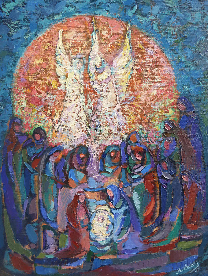 Birth Of Jesus Painting By Miguel A Chavez