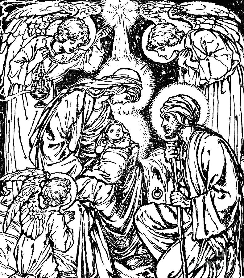 Birth Of Jesus Nativity Scene In The New Testament Drawing By English School