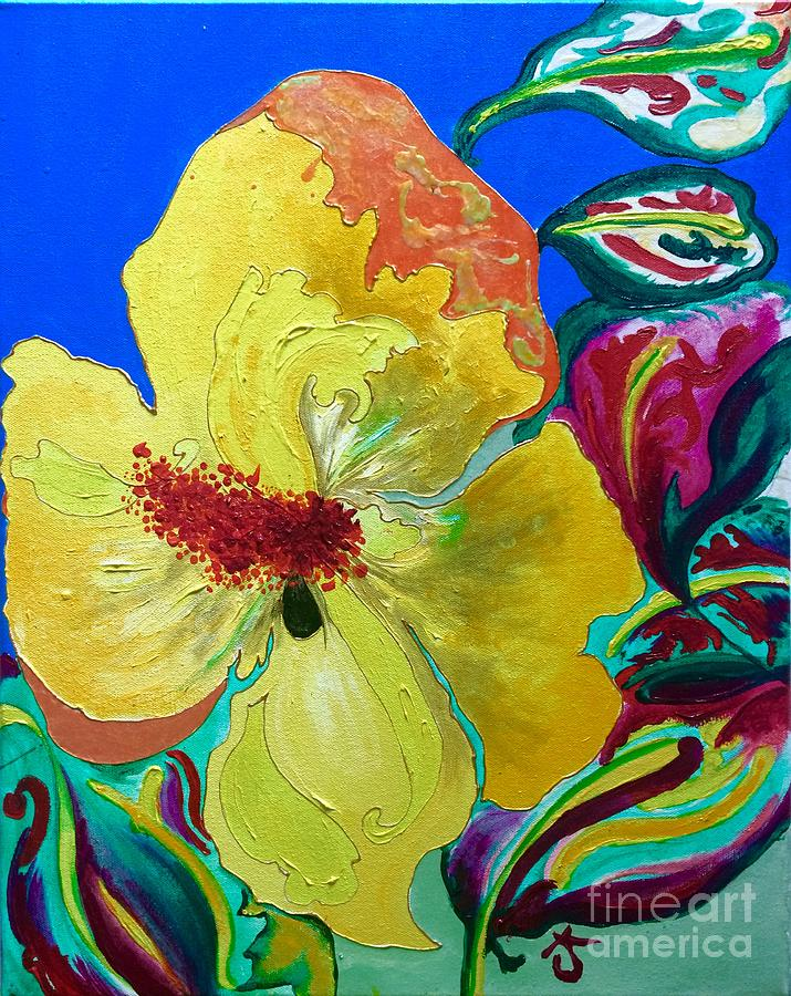 Birthday Acrylic Yellow Orange Hibiscus Flower Painting With Red And ...