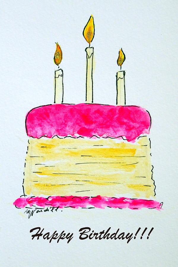 Tremendous Birthday Cake Painting By Martine Wardill Funny Birthday Cards Online Hendilapandamsfinfo