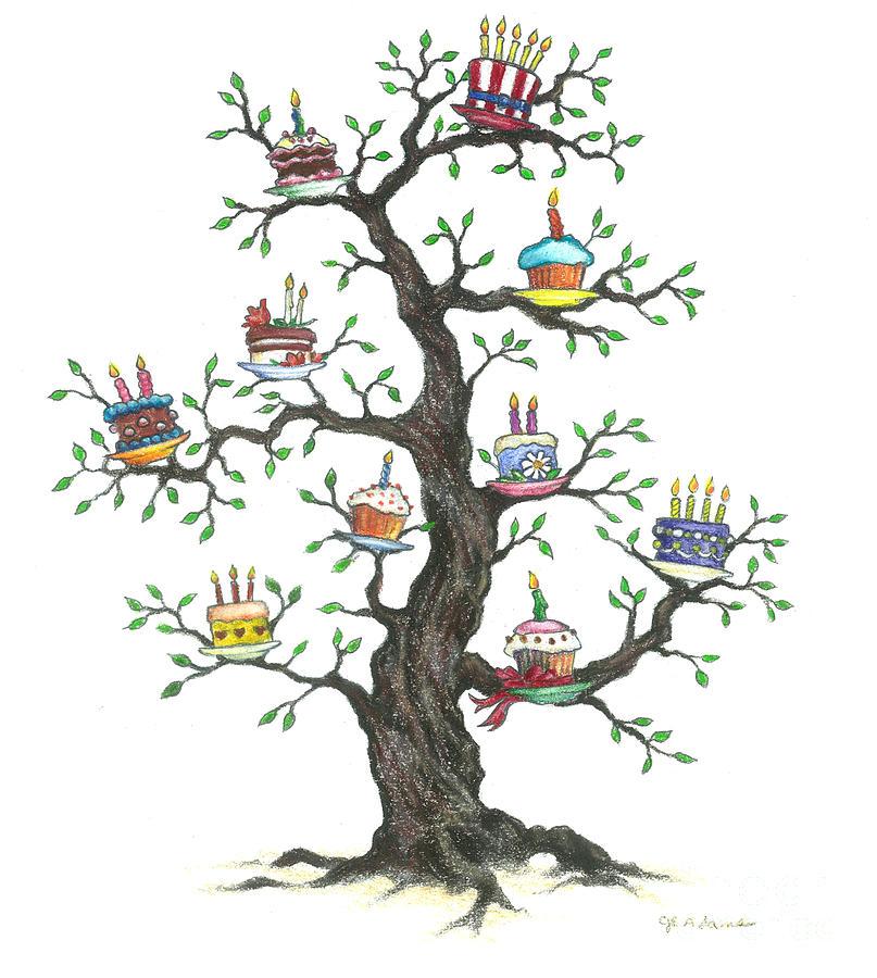 Birthday Cake Tree Drawing By Cheryl Emerson Adams