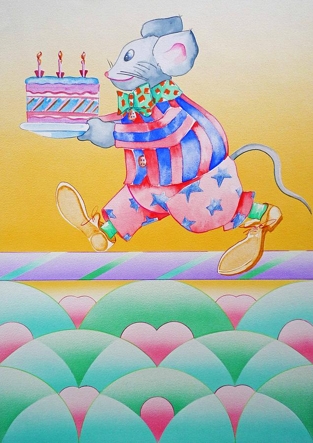 Mouse Painting - Birthday Cake by Virginia Stuart