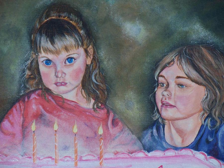 Children Painting - Birthday Candles by Sandra Valentini