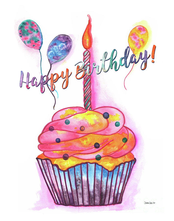 Birthday Painting - Birthday Cupcake by Debbie DeWitt