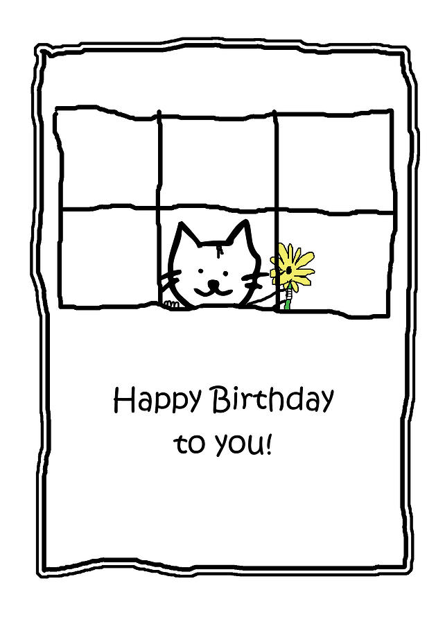 Birthday Greeting Card Drawing By Kenneth Krolikowski