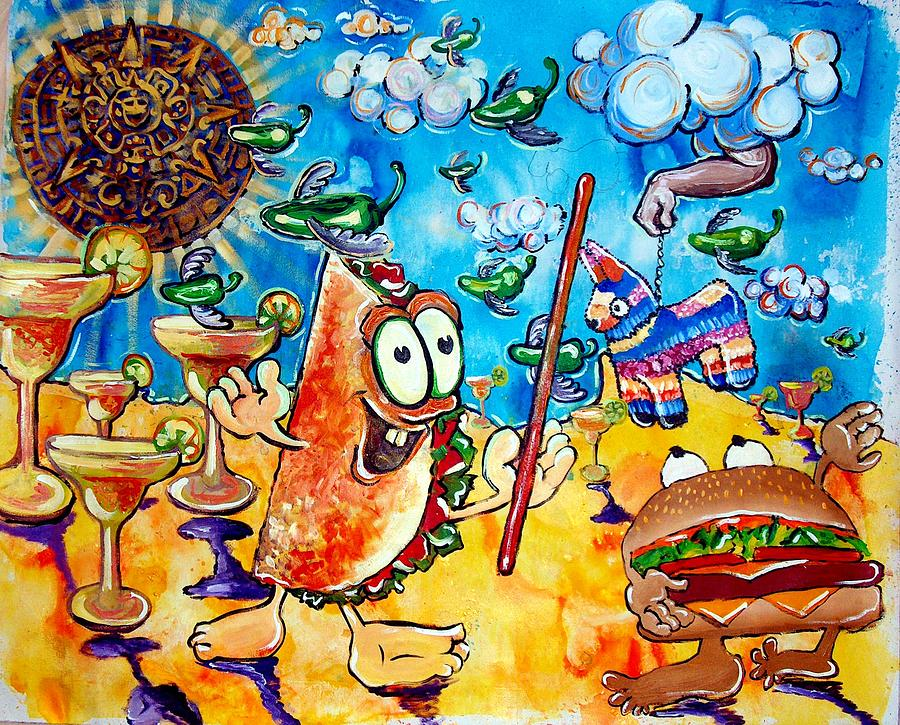 Original Painting - Birthday Party With Mister Taco And Piata by Charles Harrison Pompa
